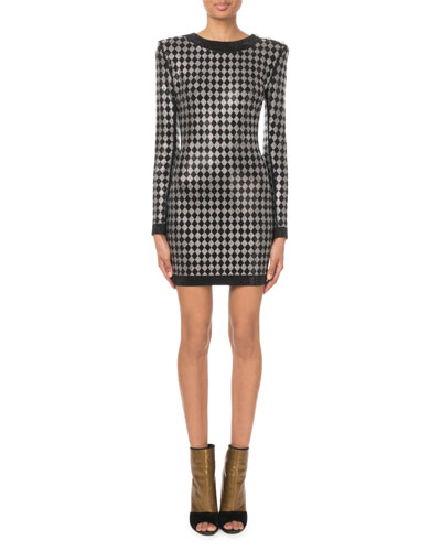 Long-Sleeve Diamond-Jersey Mini Dress