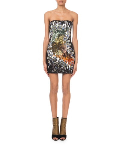 Strapless Mirror-Sequined Palm-Tree Mini Dress