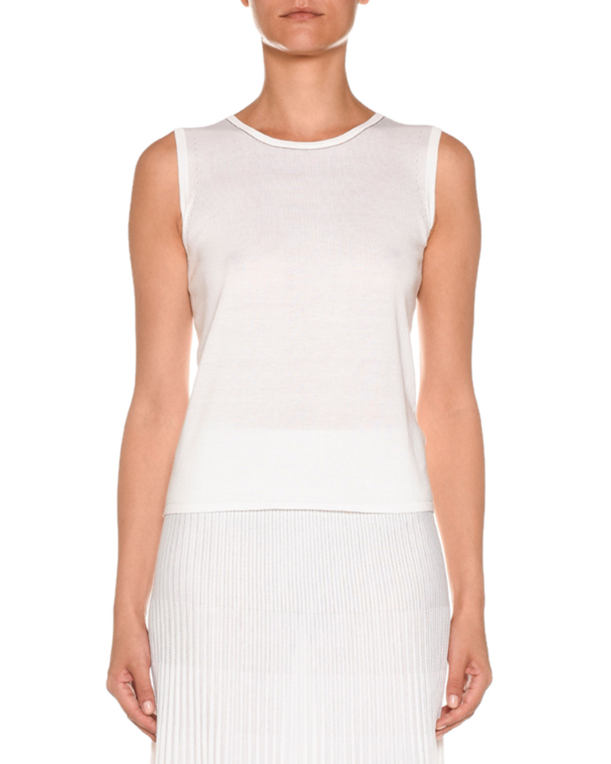906cef81243bbb Agnona Crewneck Sleeveless Cotton-Silk Knit Top