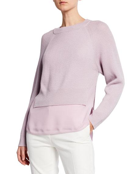 Agnona Ribbed Merino Sweater with Crepe Hem