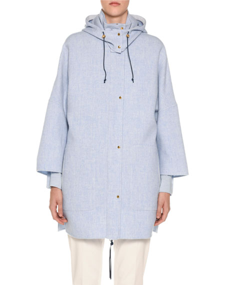 AGNONA Wool-Cashmere Caped Parka Jacket in Blue