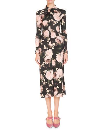 Nolene Long-Sleeve Dutch-Petal Jersey Midi Dress