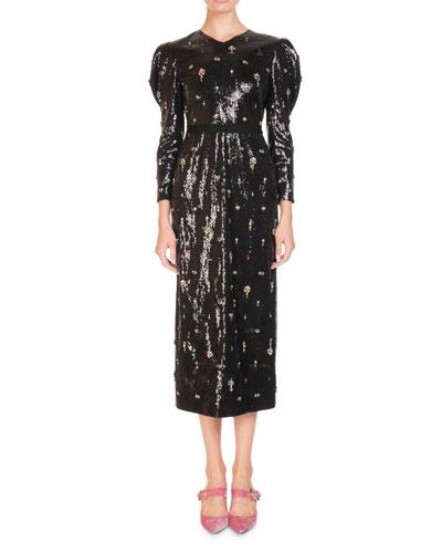 Emmy Ditsy-Stone Embellished Puff-Sleeve Midi Dress
