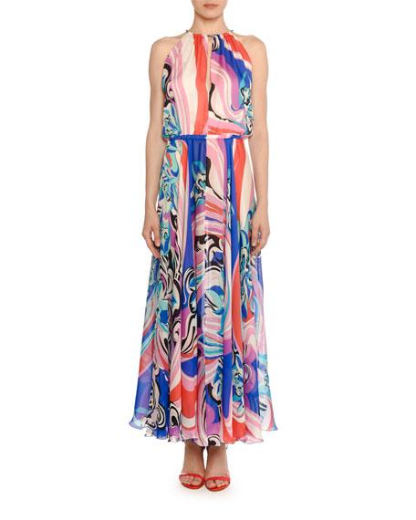 High-Neck Sapphire Silk Maxi Dress in Pink