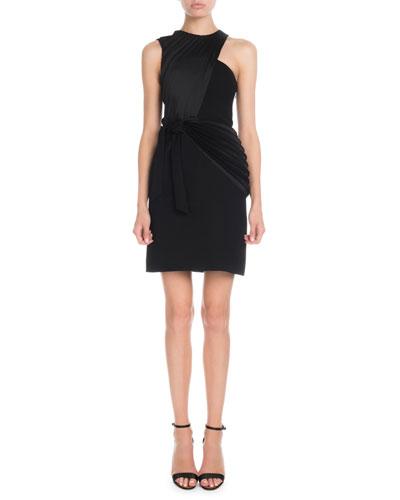 Sleeveless Crossover Pleat Mini Shift Dress