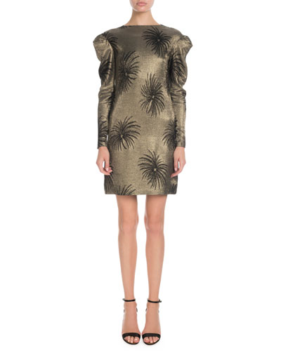 Pouf-Sleeve Fireworks Metallic-Jacquard Shift Dress