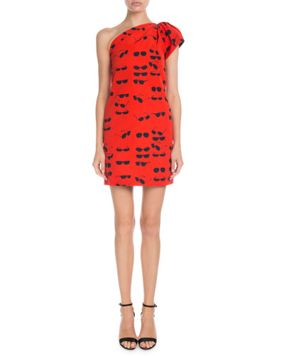 One-Shoulder Sunglasses-Print Short Shift Dress