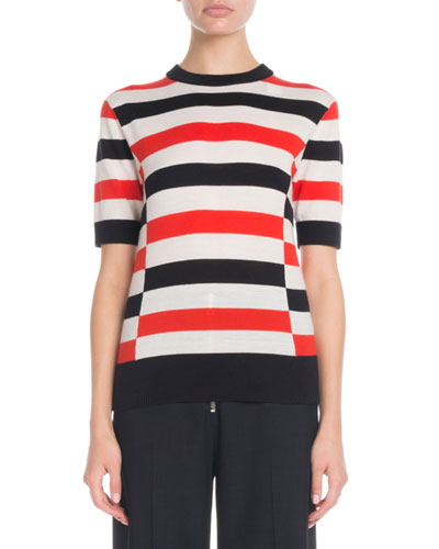 Crewneck Short-Sleeve Horizontal-Stripe Pullover Sweater