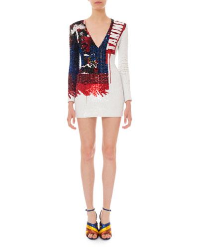 Long-Sleeve V-Neck Sequined Mini Dress