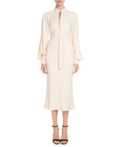 Slit-Neck Blouson-Sleeve Fluted-Bottom Calf-Length Dress
