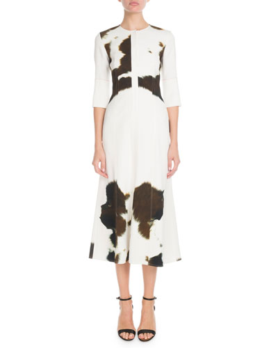 Elbow-Sleeve Round-Neck Fit-and-Flare Cow-Print Midi Dress