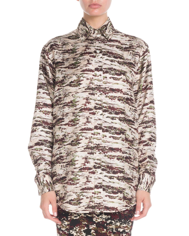 ef95e3d6bc4e1 Victoria BeckhamCamo-Print Button-Down Long-Sleeve Oversized Silk Shirt