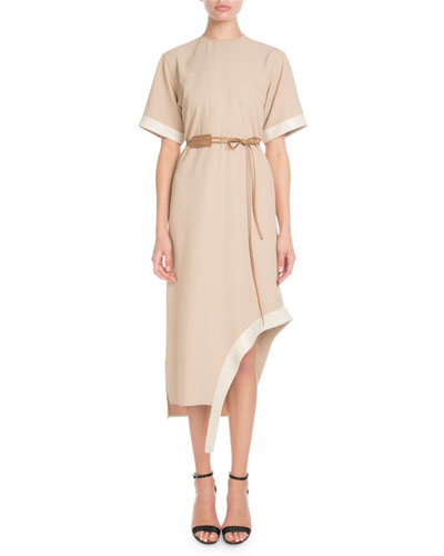 Short-Sleeve Asymmetric-Hem Shift Dress w/ Leather Belt