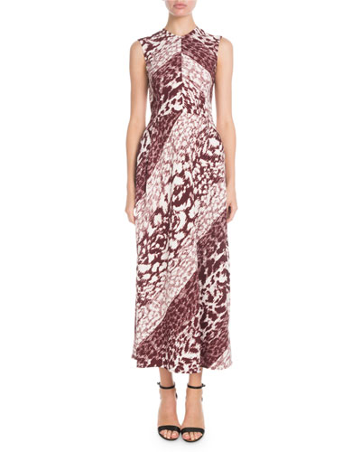 Sleeveless Leopard-Print A-Line Maxi Dress