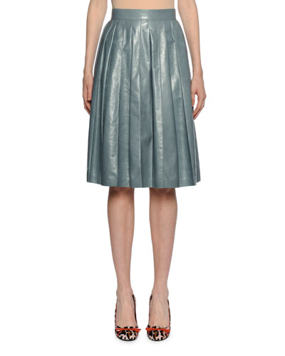 Flared Pleated Knee-Length Leather Skirt