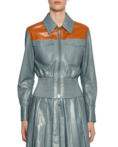 Zip-Front Two-Tone Leather Shirt Jacket