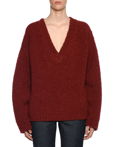 Deep-V Knit Wool/Alpaca Sweater