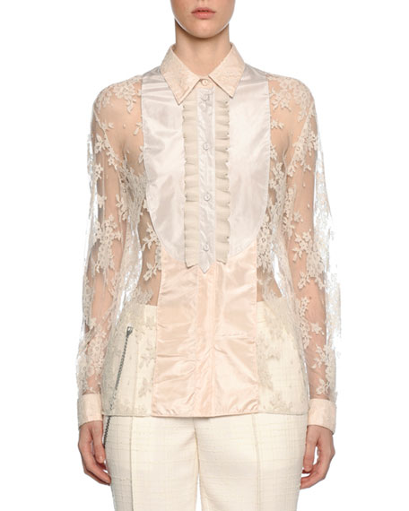 Bottega Veneta Bib-Neck Floral Lace Silk Blouse