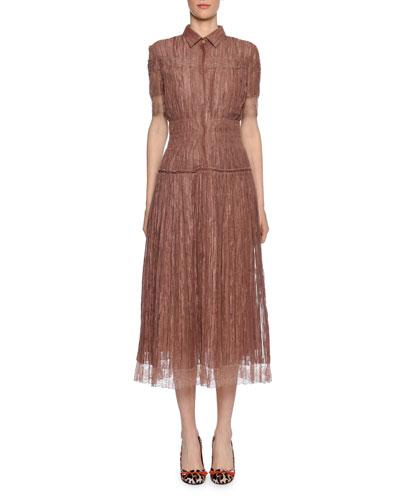 Short-Sleeve Midi Shirtdress with Lace Trim