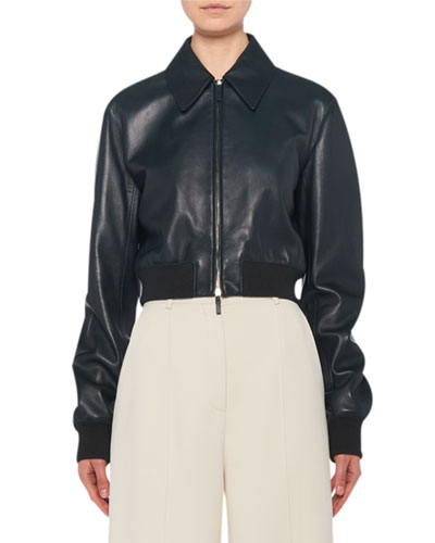 Zarla Leather Collared Bomber Jacket