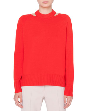 541973d14e Akris punto Wool-Cashmere Collarbone Cutout Sweater
