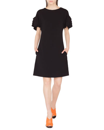 Tiered Bell-Sleeve Shift Dress