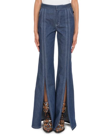 Chloe High-Waist Slit Flare-Leg Jeans
