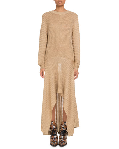 Shimmered Ribbed Handkerchief Dress