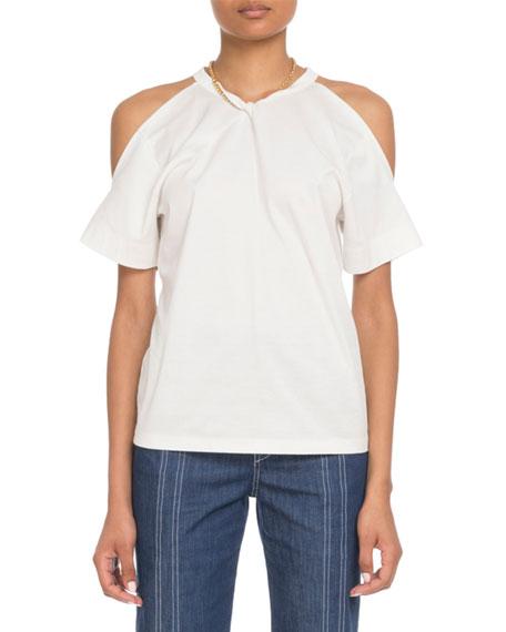 Chloe Cold-Shoulder Chain-Neck Cotton T-Shirt