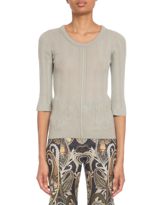 38d28a008e2 Chloe 3 4-Sleeve Superfine Cashmere Sweater
