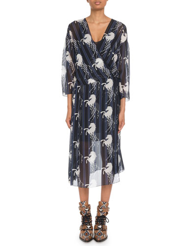 Bracelet-Sleeve Horse-Print Georgette Midi Dress