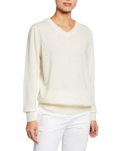 Maley V-Neck Long-Sleeve Cashmere-Blend Sweater