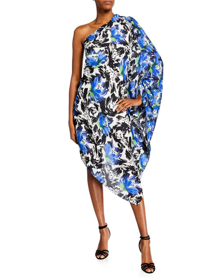 Roland Mouret KNIGHT ASYMMETRIC ONE-SHOULDER ABSTRACT FLORAL TUNIC DRESS