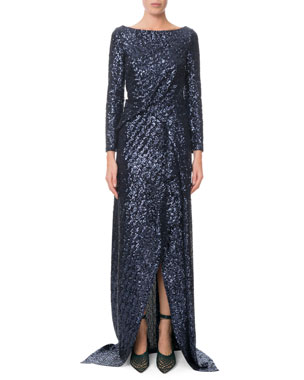 6504e18e8e Roland Mouret Sarandon Long-Sleeve Twisted Sequin Gown