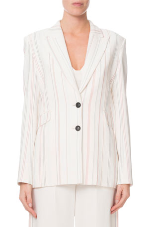 Roland Mouret Neyman Topstitch-Embroidered Striped Blazer