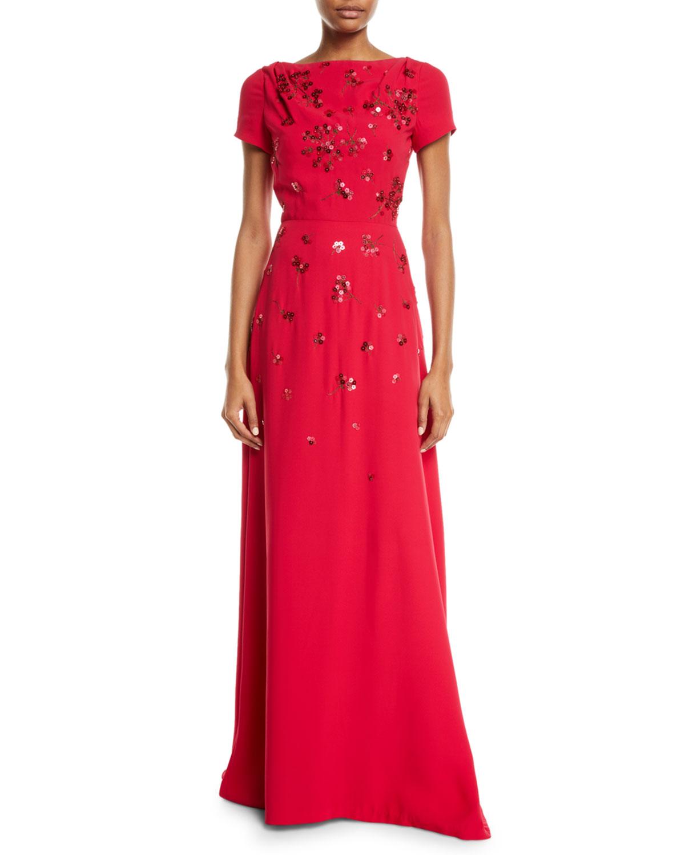 Carolina Herrera Short-Sleeve Floral-Sequined Gown | Neiman Marcus
