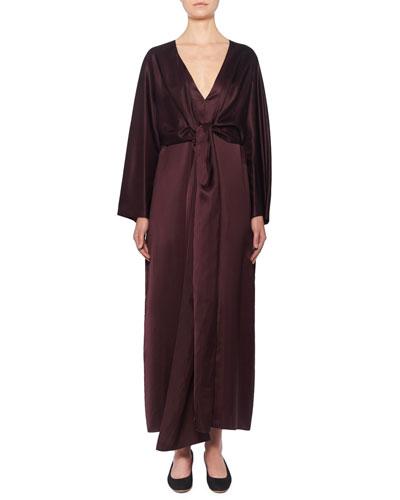 Clementine Satin Wrap-Front Dress