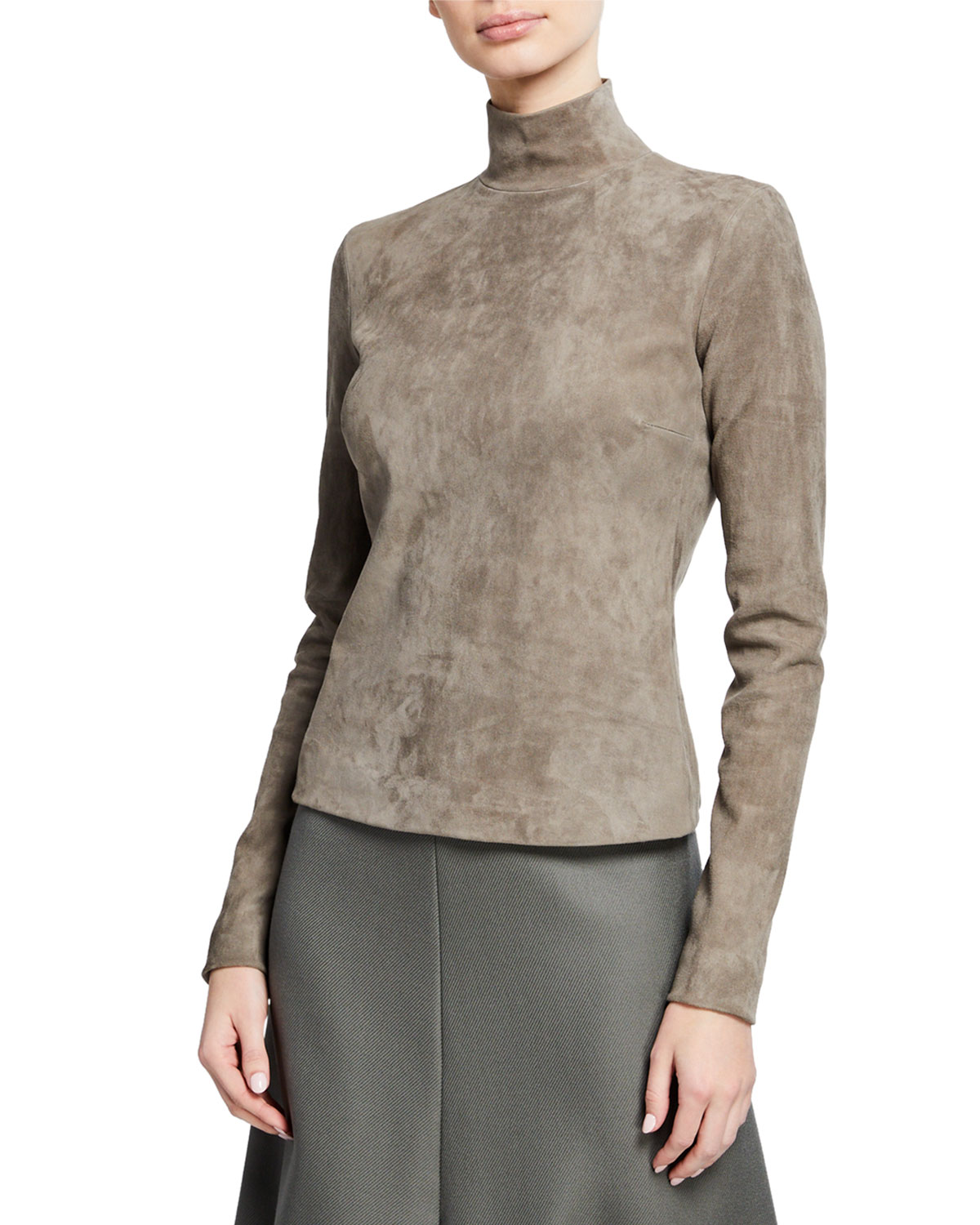 064963a48d74 THE ROW Beatty Suede Mock-Neck Top