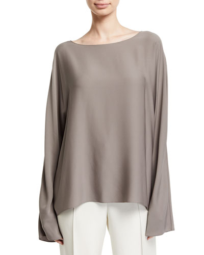 Dylia Bell-Sleeve Stretch Silk Blouse