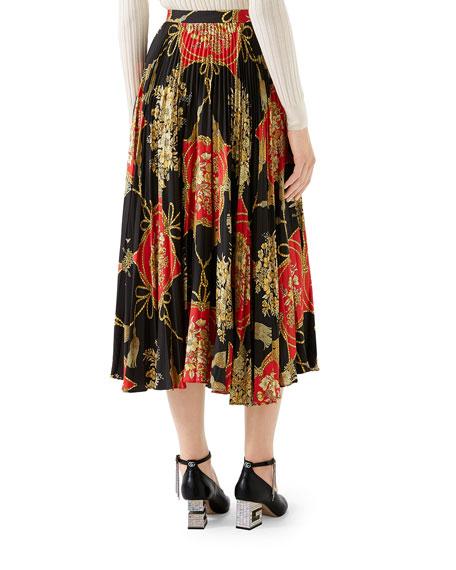 Gucci Intrigue Floral Tassel Print Pleated Silk Midi Skirt