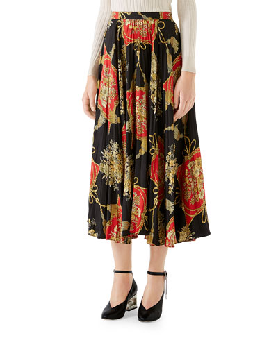 Intrigue Floral Tassel Print Pleated Silk Midi Skirt