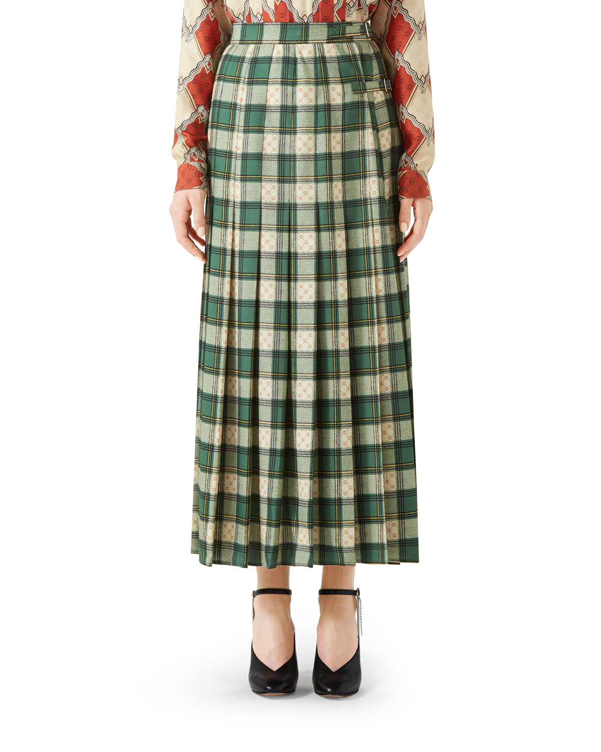Gucci Tartan-Check Pleated Maxi Skirt  4720795d0