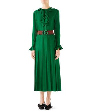 3f670788 Gucci Belted Ruffle-Trim Silk Twill Peasant Dress