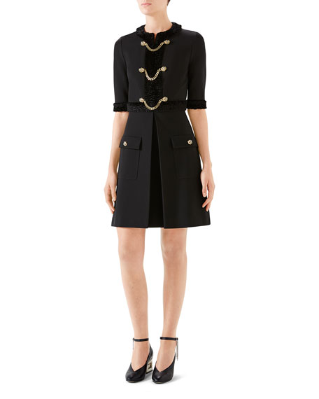 Gucci Jersey Tiger-Head Button Dress