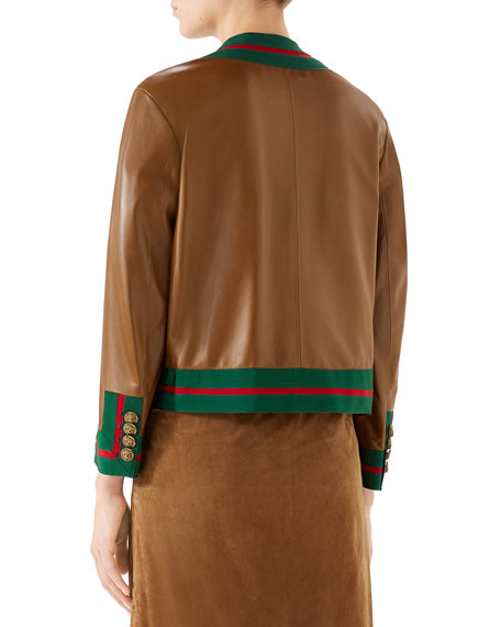 GUCCI Leathers RIBBON-TRIM BUTTON-FRONT LEATHER JACKET