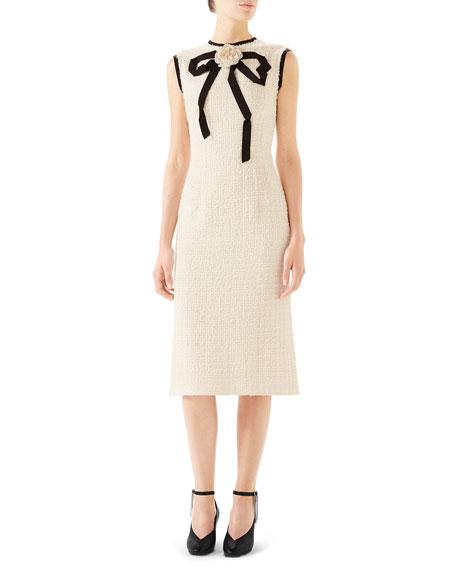 Gucci Rose-Front Bow-Neck Gauze Tweed Midi Dress