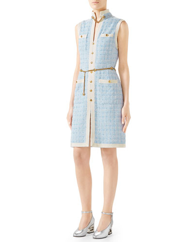 Sleeveless Short-Tweed Dress with Chain Belt