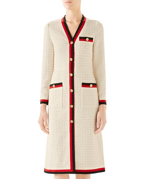 Gucci Ribbon-Trim Button Front Gauze Tweed Dress