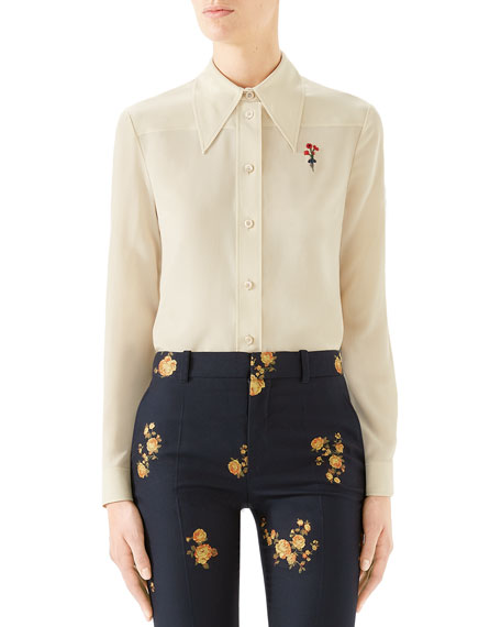 Gucci Flower-Embroidered Silk Button-Front Shirt