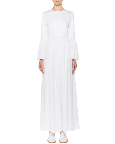 Sora Bell-Sleeve Poplin Maxi Dress